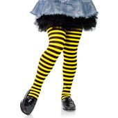 Girls Striped Tights - Black/Yellow