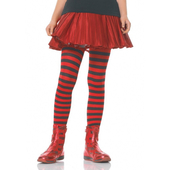 Girls Striped Tights - Black/Red