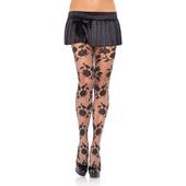 Contrast woven floral spandex sheer pantyhose Black/GREY