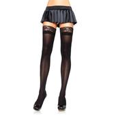 Nylon Stocking W/Lace Top Black