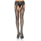 Plus Size Lycra Sheer Garter Pantyhose