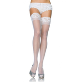 Plus Size Stay Up Lycra Sheer Thigh High PLUS SI White