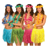 Hawaiian Skirt & Leis Set