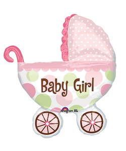 Baby Girl Pram Foil Balloon