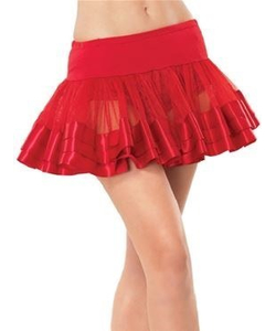 Satin Trimmed Petticoat - Red