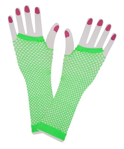 Neon green fishnet gloves