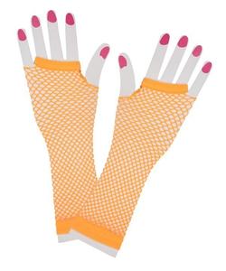 neon orange fishnet tights