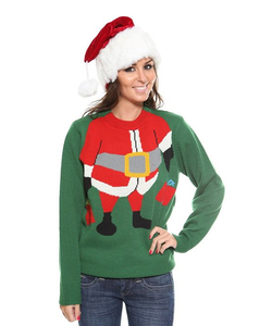 Ladies Santa Elf Christmas Jumper - Green