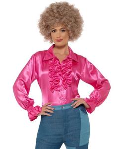 satin ruffle shirt - pink