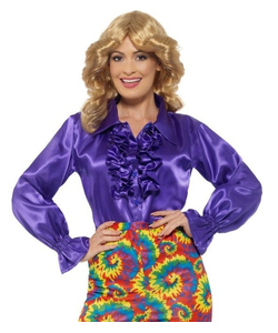 satin ruffle shirt - purple