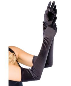 Extra Long Satin Gloves - Black
