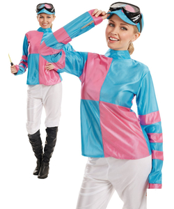 Pink And Blue Jockey Girl - Plus Size