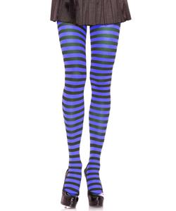Striped Nylon Tights - Black/Royal Blue