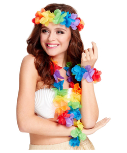 Rainbow Hawaiian Leis Set