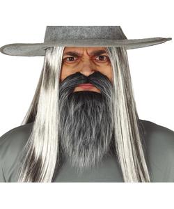grey beard with moustache