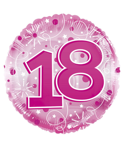 18th Happy Birthday Clearview Pink Balloon
