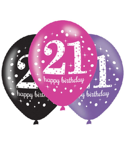 Black Pink Purple 21st Birthday Latex Balloons - 6 Pack