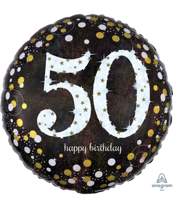 "50 Happy Birthday Foil Balloon 18"" - Silver"