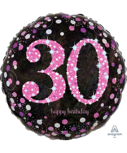 "30th Happy Birthday Foil Balloon 18"" - Pink"