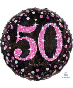 "50 Happy Birthday Foil Balloon 18"" - Pink"