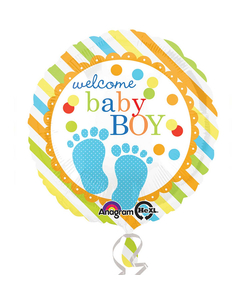 "Welcome Baby Boy Foil Balloon - 17"""