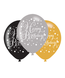 Black Gold Silver Happy Birthday Latex Balloons - 6 Pack