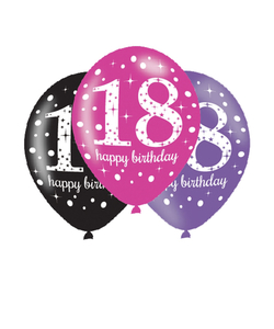 Black Pink Purple 18th Birthday Latex Balloons - 6 Pack