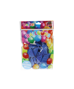 "10"" Blue Latex Balloons - 30 Pack"