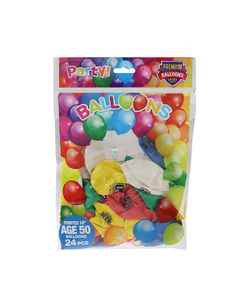 Happy 50th Birthday Balloons - 24 Pack