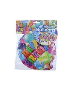 Happy Birthday Self Inflating Balloon - 3 Pack