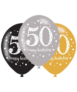 Black Gold Silver 50th Birthday Latex Balloons - 6 Pack