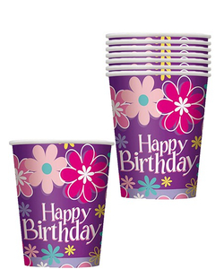 Birthday Blossom Party Paper Cups - 8 Pack