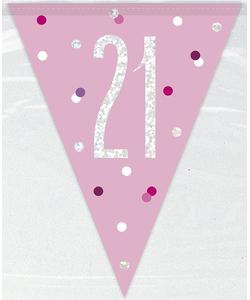 21st Birthday Flag Banner - Glitz Pink