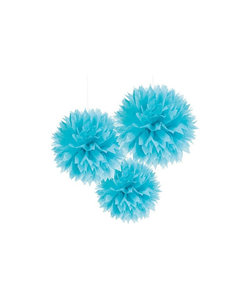Blue Paper Pom Pom - 3 Pack