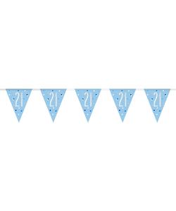 21st Birthday Flag Banner - Glitz Blue