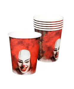 Horror Clown Paper Cups - 6 Pack