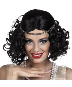 20s Flapper Wig and Headband - Black