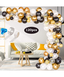 Balloon Arch and Garland Kit, 120pcs with Black, Gold, White, Metallic and Confetti Balloons.
