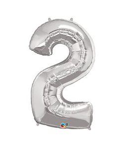 Silver Numbered Foil Balloon #2