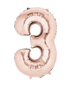 Rose Gold Numbered Foil Balloon #3