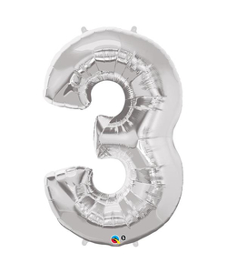 Silver Numbered Foil Balloon #3