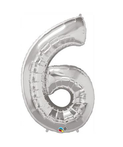 Silver Numbered Foil Balloon #6