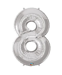 Silver Numbered Foil Balloon #8