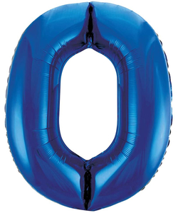 Blue Numbered Foil Balloon #0