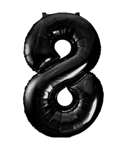 Black Numbered Foil Balloon #8