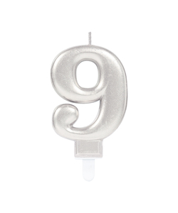 Silver Metallic Finish Number Candle #9