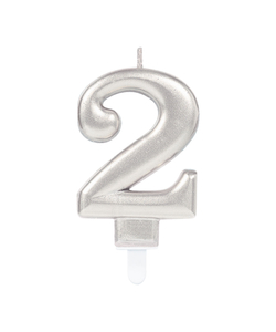 Silver Metallic Finish Number Candle #2