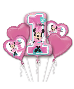 Minnie Mouse 1st Birthday Helium Inflated Balloon Bouquet