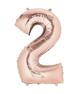 Rose Gold Numbered Minishape Foil Balloon #2