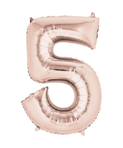 Rose Gold Numbered Minishape Foil Balloon #5